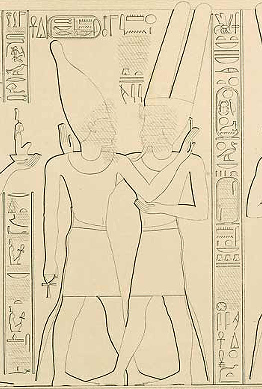 Temple relief depicting Pharaoh Takelot II of Egypt
