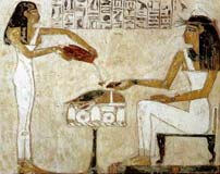 Ancient Egyptians drinking wine