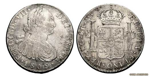 Spanish eight reales coin of 1809