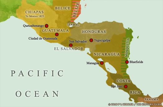 Map of Central America in the 1830s