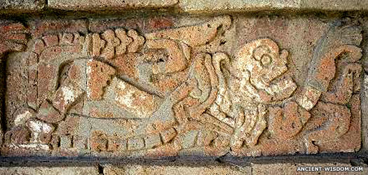 A skeleton being eaten by a snake at Tula