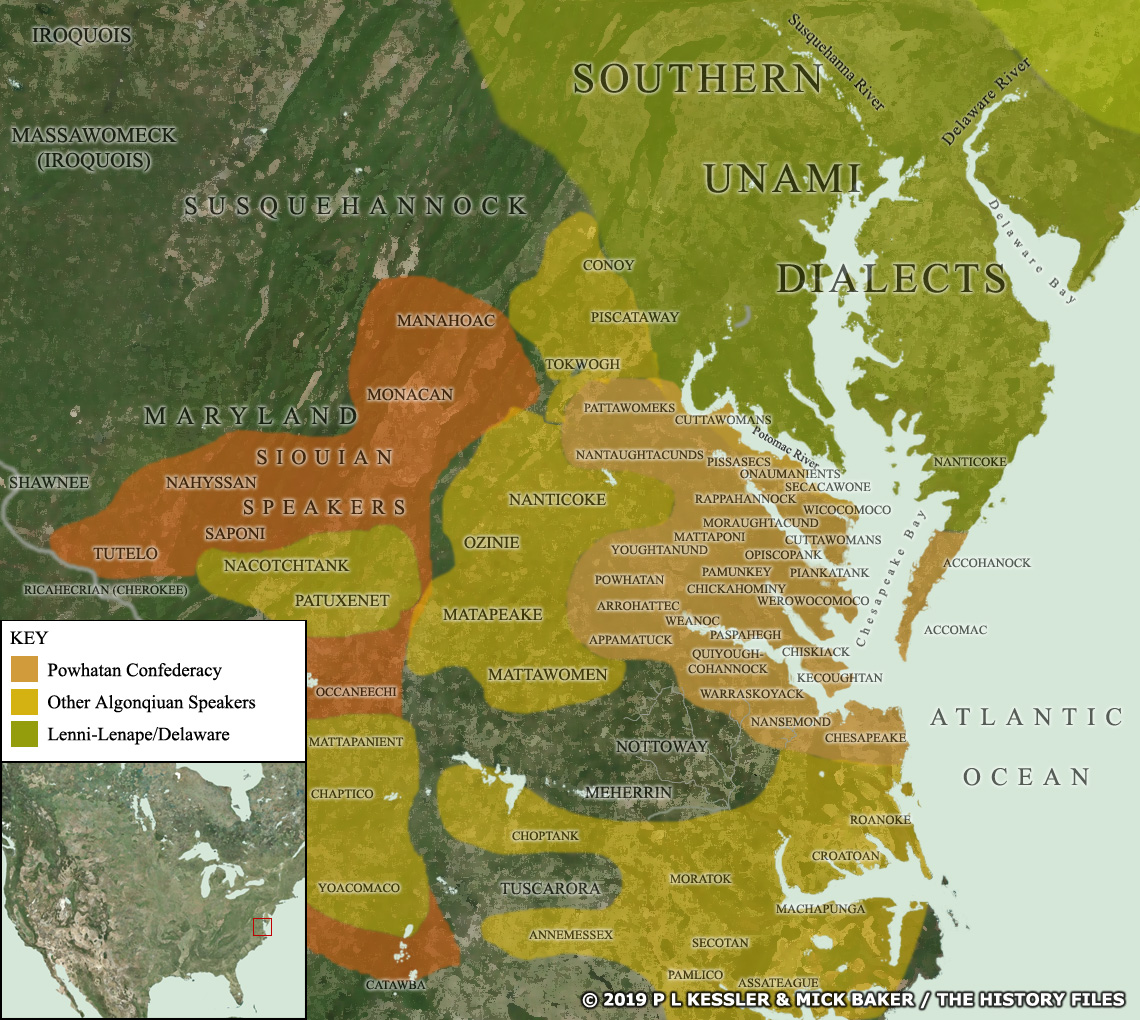 Map of the Powhatan confederacy AD 1600