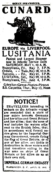 Newspaper notice about the Lusitania