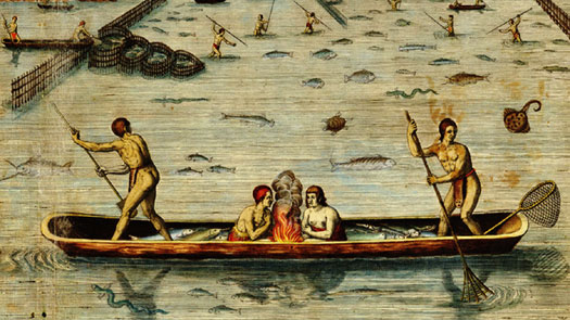 Virginia's native Americans fishing