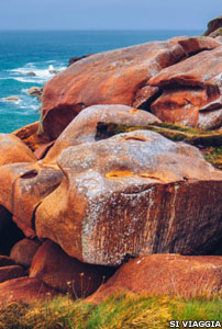 Armorica or Brittany's pink granite rocks