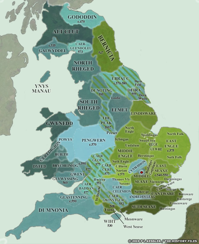 Map of Anglo-Saxon Conquest Britain AD 550-600
