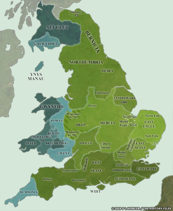 Anglo Saxon Map Of England.Map Of The Anglo Saxon Kingdoms Ad 700