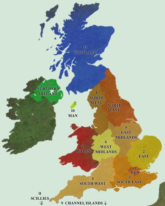 Regions of the British Isles & Ireland