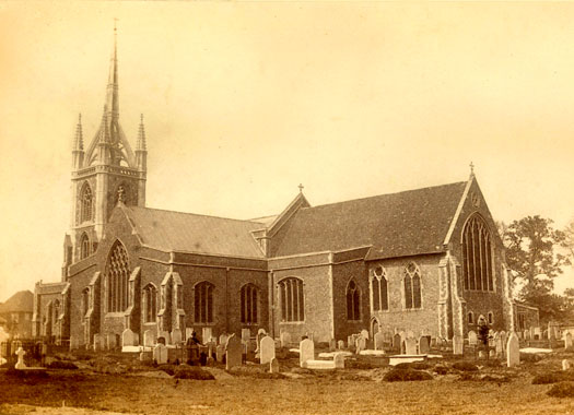 1866 view of St Mary of Charity from the churchyard, Faversham, Kent