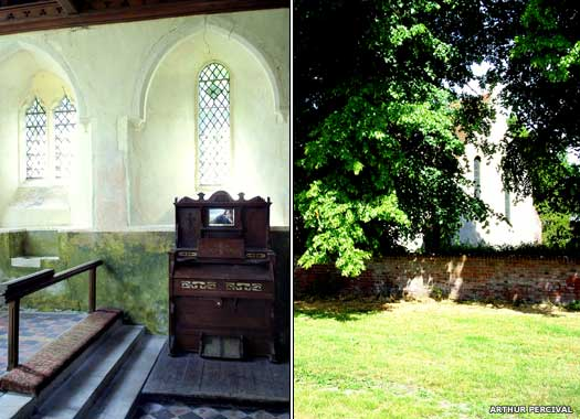 The church organ and rear view of St Mary's Luddenham, Kent