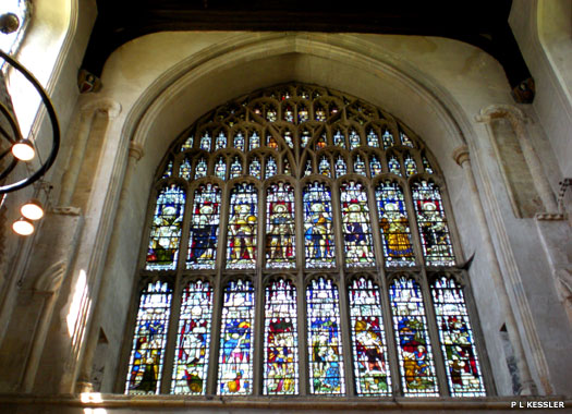 Stained glass windows in Rochester Cathedral in Kent