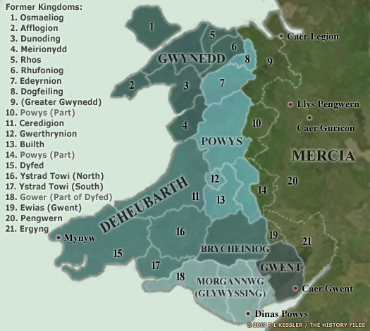 Map of Later Cymru (Wales)