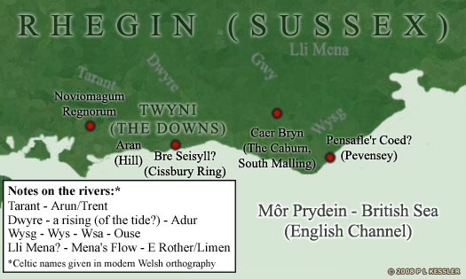 Map of pre-Saxon Sussex