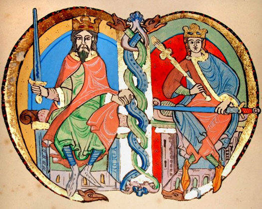 King David I and King Malcolm IV of Scotland