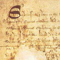 Close up of the Declaration of Arbroath