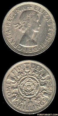British two shilling coin of 1964