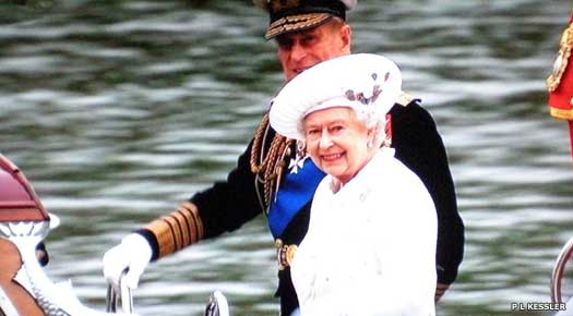 Queen Elizabeth II and Prince Philip about to join the Royal barge