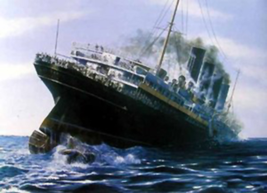 The Lusitania starts to sink