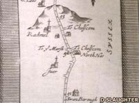 Road map of Sussex from the 1700s