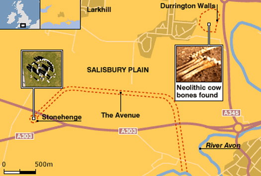 Map of Stonehenge finds