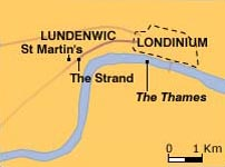 Map of Lundenwic and Londinium