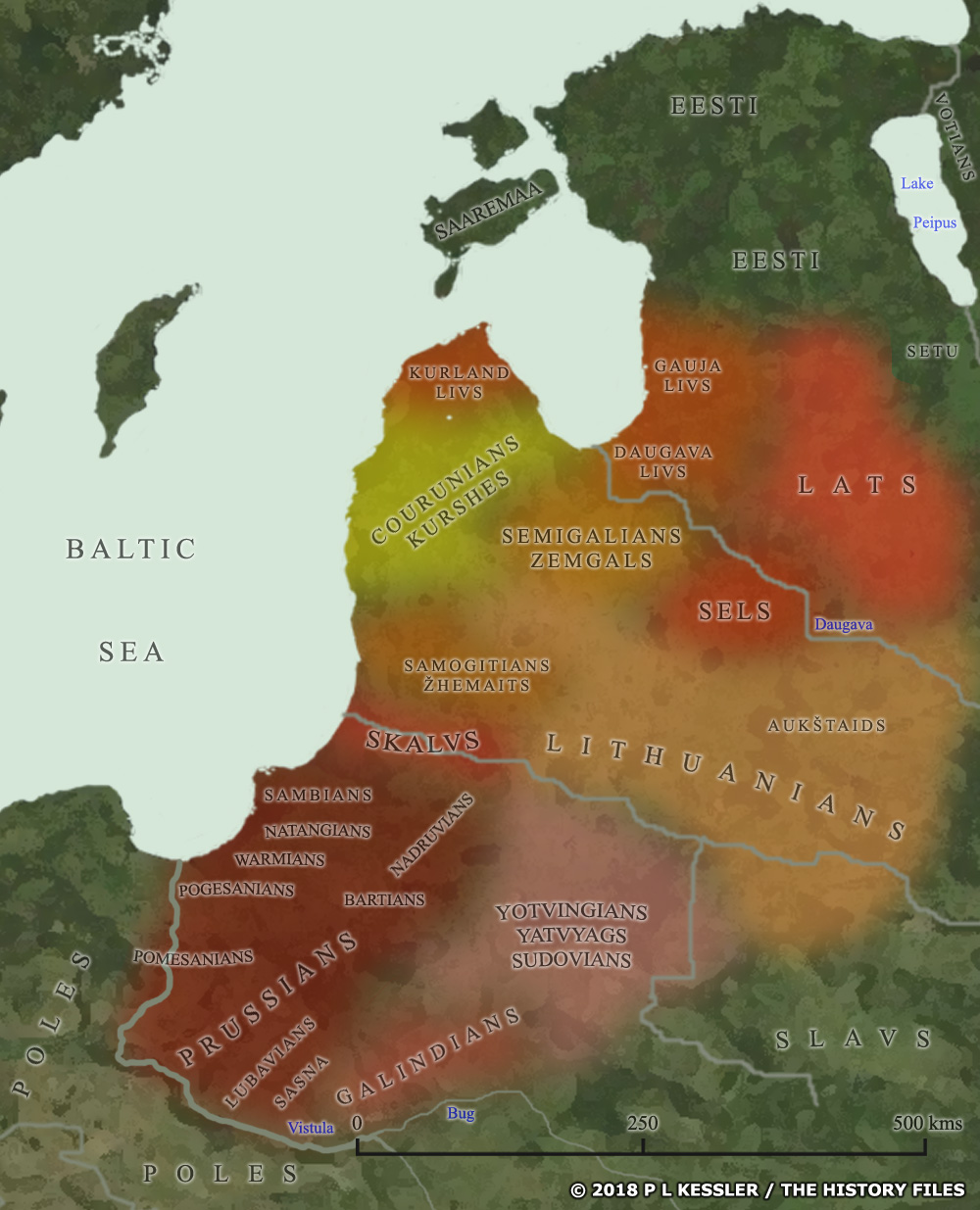 Map of the Baltic tribes around AD 1000