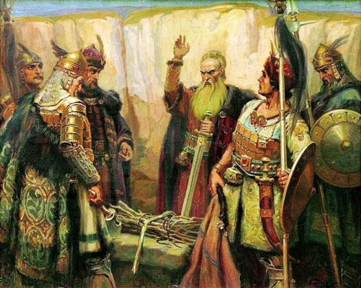 Qaghan Koubrat of Great Bulgaria and his warrior sons