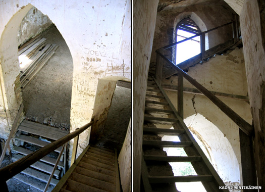 The damaged wooden staircase up to the tower in Paluküla Church