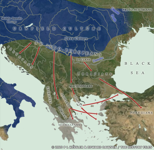 Map of Eastern Europe, the Balkans, and Greece 1200 BC
