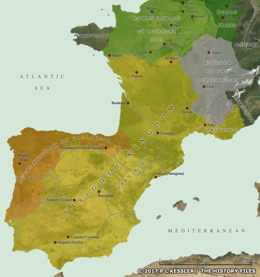 Map of the Visigoth kingdom in AD 470