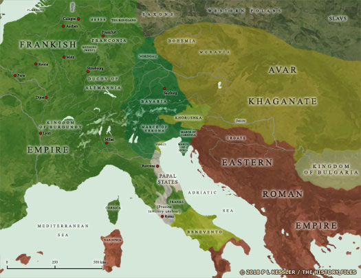 Map of the Frankish Empire in AD 800