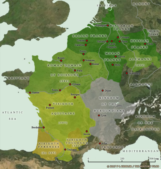 Map of Western Europe between AD 481-511