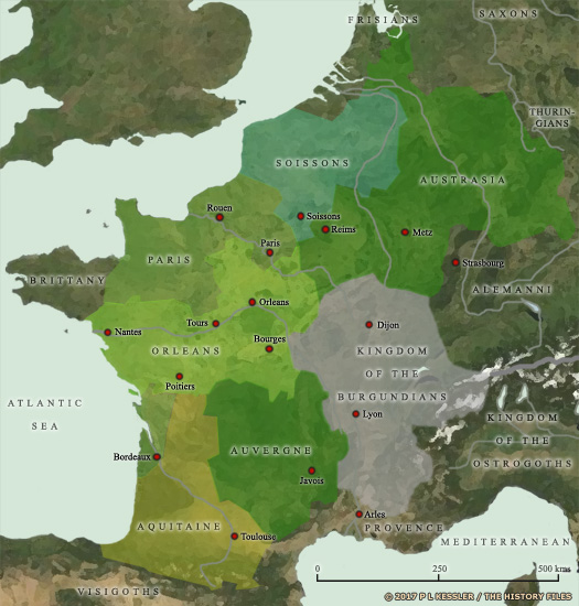 Map of Western Europe at the death of Clovis in AD 511