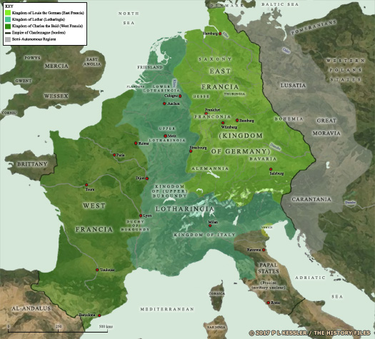 Map of the Frankish empire at the Treaty of Verdun AD 843