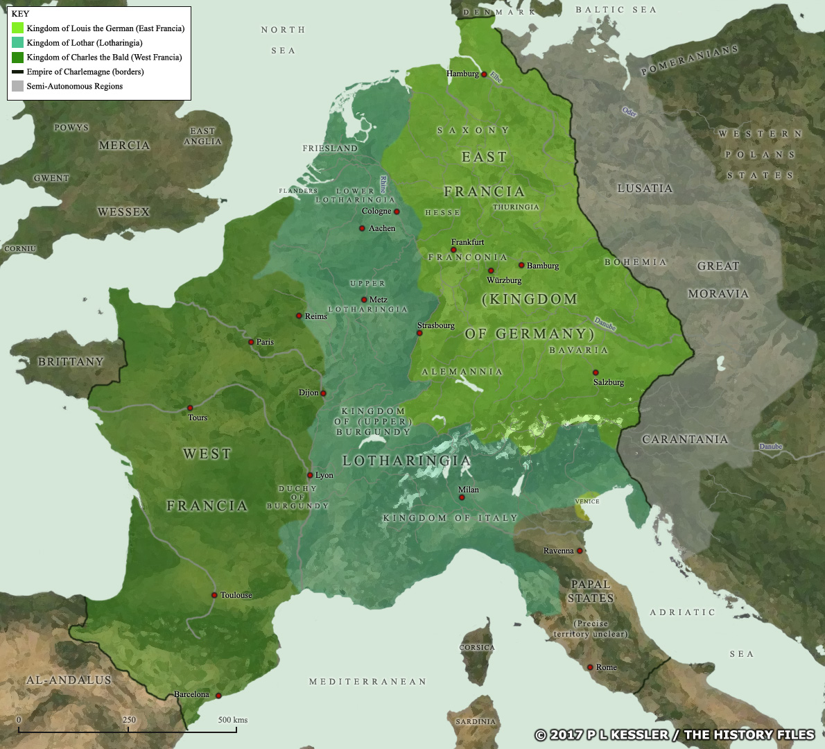Map of the Frankish empire at the Treaty of Verdun in AD 843 ...