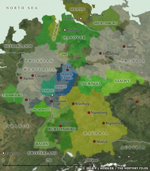 Map of Confederation of German States AD 1815