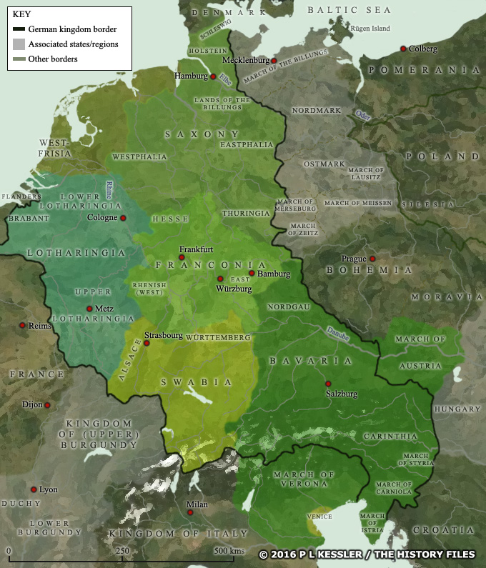 map of german states ad 962