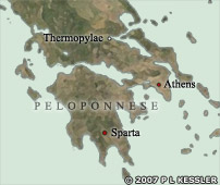 Map of Classical Greece in 480 BC