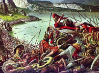 The Spartans defend the Phocian wall at Thermopylae