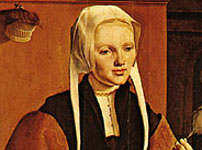 Portrait of a Woman at the Spinning Wheel, oil painting by Maerten van Heemskerck, 1529