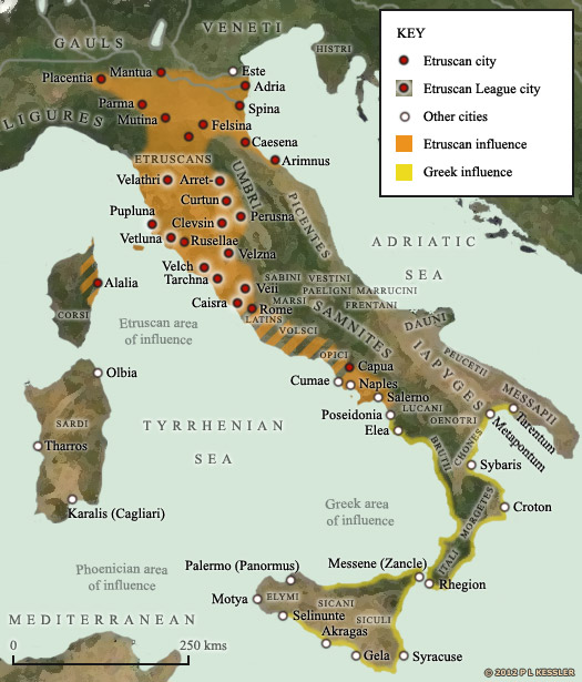 Map of Iron Age Italy