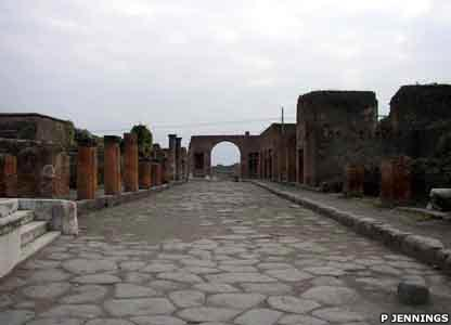 The road leading from the forum to the northern walls of the city has two arches