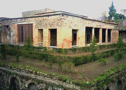 The Villa of Mysteries is built around a central peristyle court and surrounded by terraces
