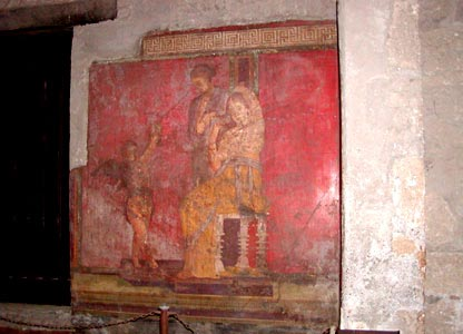 In the room of the Large Painting a cycle of frescoes was dedicated to the Dionysiac ceremonies