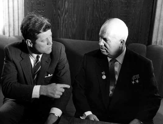 Nikita Kruschev and John F Kennedy
