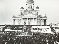 Senate Square in Helsinki during the Russian strike of 1905