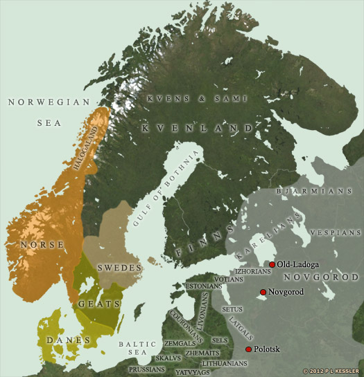 Map of Scandinavia AD 1000