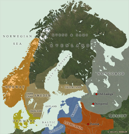 Map of Scandinavia AD 1300