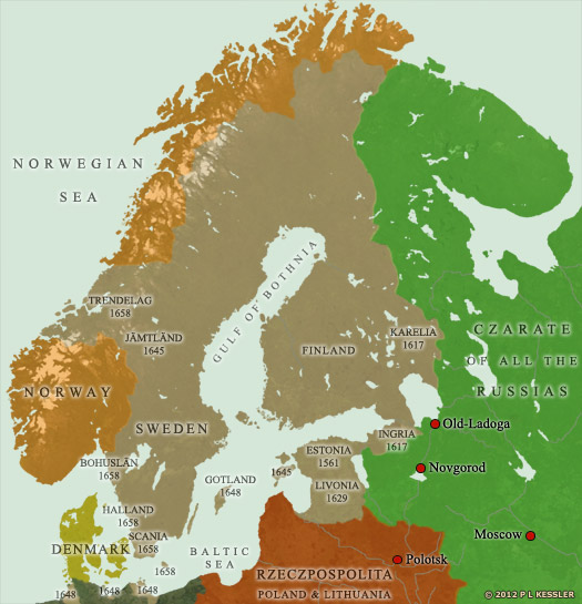 Map of Scandinavia AD 1660