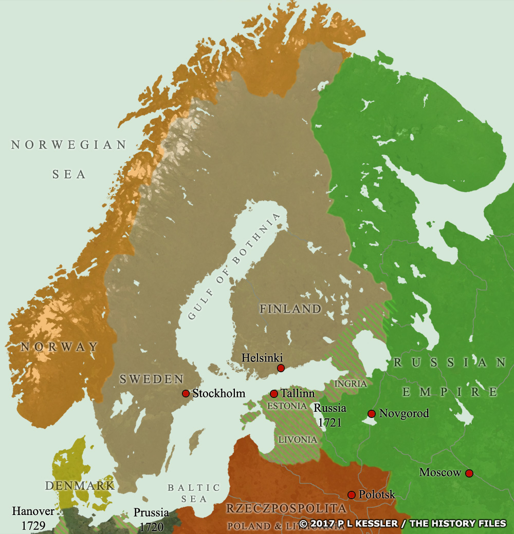 Kingdoms of northern europe fenno scandinavia nordic countries map of scandinavia ad 1721 gumiabroncs Choice Image